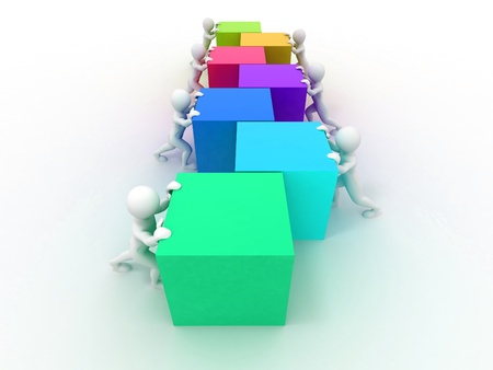 Men with boxes. Conceptual image of teamwork. 3d photo
