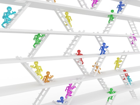 Way up. People and ladders on white isolated background. 3d photo