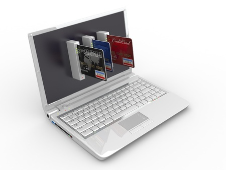 E-commerce. Laptop and credit card on white isolated background. 3d Stock Photo - 9661105