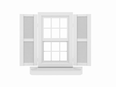 Closed window and shooters on white isolated background. 3d  photo