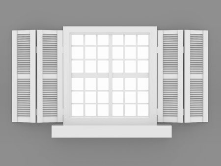 shutter: Closed window and shooters on grey isolated background. 3d  Stock Photo