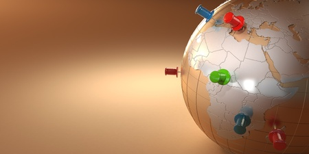 Earth and thumbtacks on orange background. 3d photo
