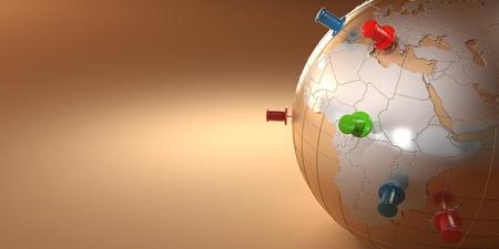Earth and thumbtacks on orange background. 3d Фото со стока