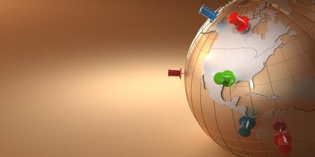 thumbtacked: Earth and thumbtacks on orange background. 3d Stock Photo