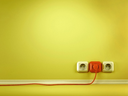outlets: Plugs and Socket. Three-dimensional abstract background. 3d Stock Photo