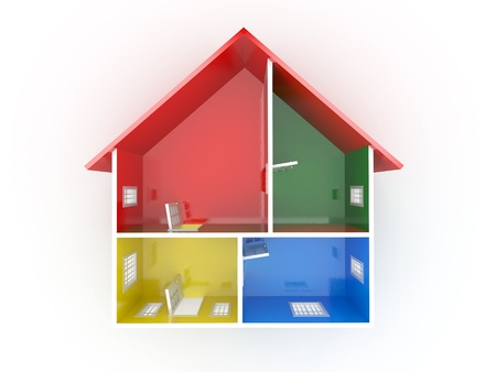 Abstract plan of home, on white isolated background. 3d Stock Photo - 9704230