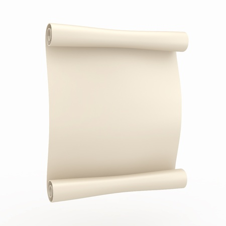 rolled: Vintage aged papyrus on white isolated background. 3d