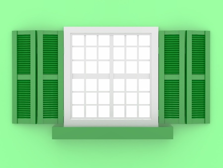 shooters: Closed window and shooters on green isolated background. 3d  Stock Photo