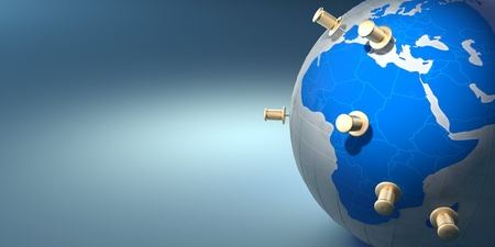 Earth and thumbtacks on blue background. 3d photo