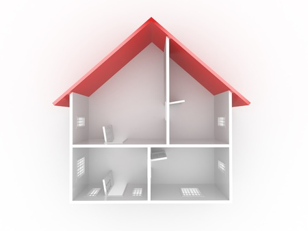 Abstract plan of home, on white isolated background. 3d Stock Photo - 9764371