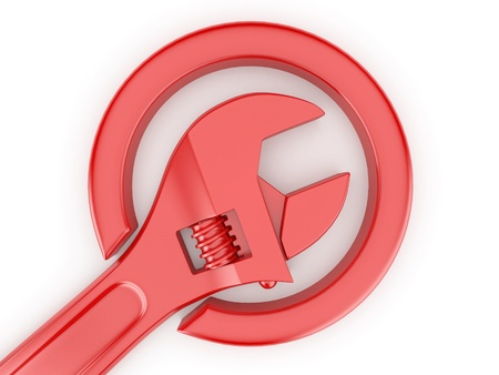 steel icon: Adjustable wrench on white isolated background. 3d Stock Photo
