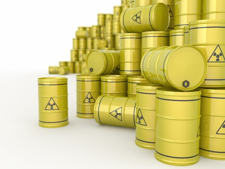 A barrels of radioactive waste on white  background. 3d Stock Photo - 9764378
