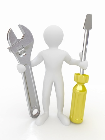 metal working: Men with wrench and screwdriver on white isolated background. 3d