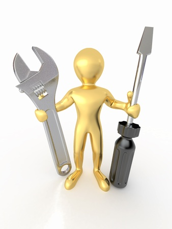 Men with wrench and screwdriver on white isolated background. 3d Stock Photo - 9764389