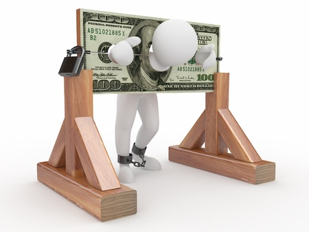 Man being held hostage by money. 3d Stock Photo - 9764343