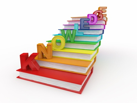 Word knowledge on books as staircase. 3d Stock Photo - 9764350
