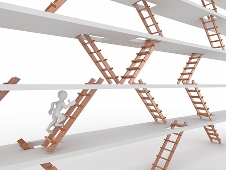 Way up. People and ladders on white isolated background. 3d Stok Fotoğraf