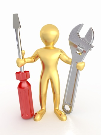 adjust: Men with wrench and screwdriver on white isolated background. 3d