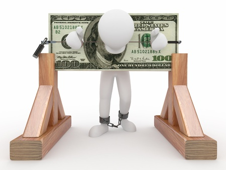 Man being held hostage by money. 3d photo