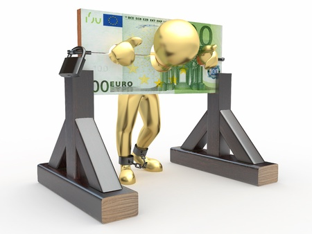 Man being held hostage by money. 3d Stock Photo - 9778337