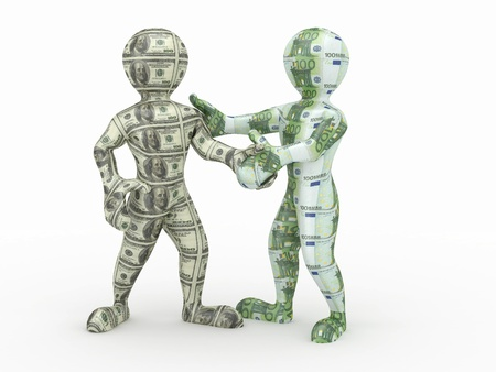 Cooperation euro and dollar. Conceptual image. Stock Photo - 9778341