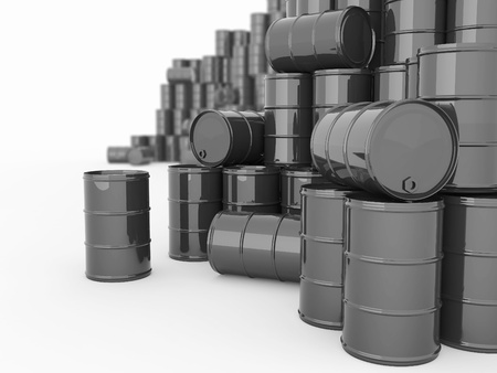 oil barrel: Aceite y petr�leo. Barriles sobre fondo blanco aislado.