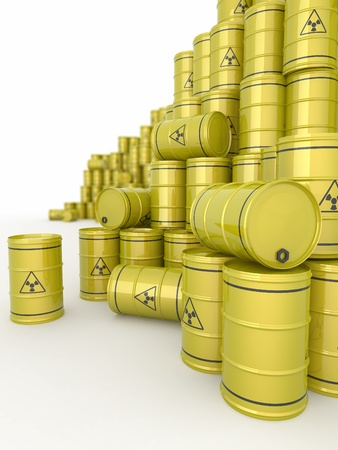 A barrels of radioactive waste on white  background. 3d photo