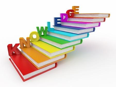 sachant lire et �crire: Connaissances de mot sur les livres en escalier. 3D