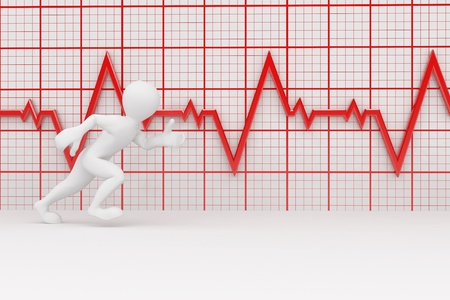 Running men on the background of the chart heartbeat. 3d photo