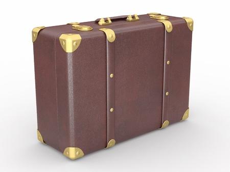 Leather suitcase on white isolated background. 3d photo
