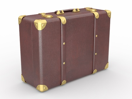 Leather suitcase on white isolated background. 3d photo