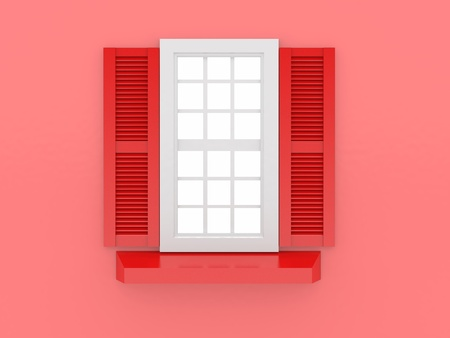 shooters: Closed window and shooters on red isolated background. 3d