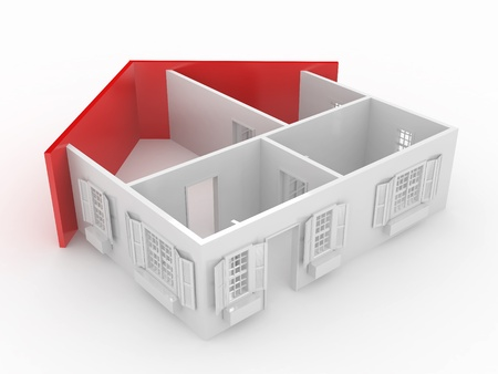estate planning: Abstract plan of home, on white isolated background. 3d Stock Photo