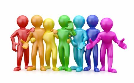Freundschaft. Teamwork. Gruppe von Menschen isoliert auf weißem Hintergrund. 3d Standard-Bild