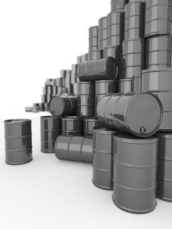 oil barrel: Oil and Petroleum. Barrels on white isolated background.