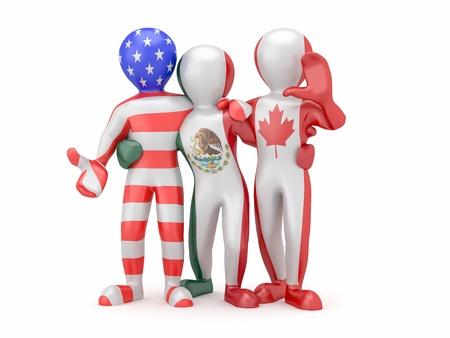 L'ALENA. Les gens de couleur du drapeau national du Canada, du Mexique, �tats-Unis. 3d Banque d'images - 9823022