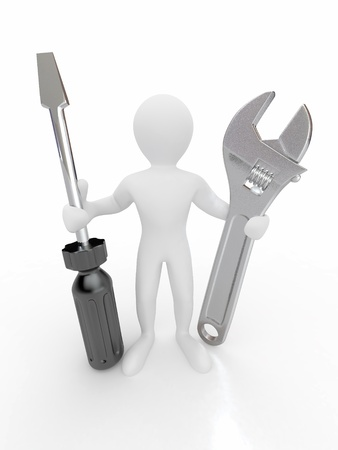 hardware repair: Men with wrench and screwdriver on white isolated background. 3d