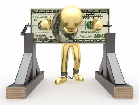 Man being held hostage by money. 3d Stock Photo - 9823053