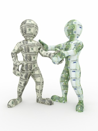 Cooperation euro and dollar. Conceptual image. 3d Stock Photo - 9823051