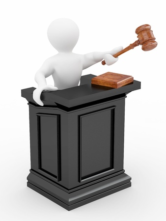 judgements: Men with gavel on white isolated background. 3d Stock Photo