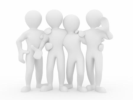 respeto: Amistad. Trabajo en equipo. Grupo de personas sobre fondo blanco aislado. 3D