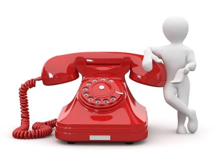 iconos contacto: P�ngase en contacto con nosotros. Hombre con tel�fono sobre fondo blanco aislado. 3D