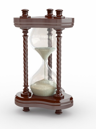 Hourglass. Handglass  on white isolated background. 3d photo