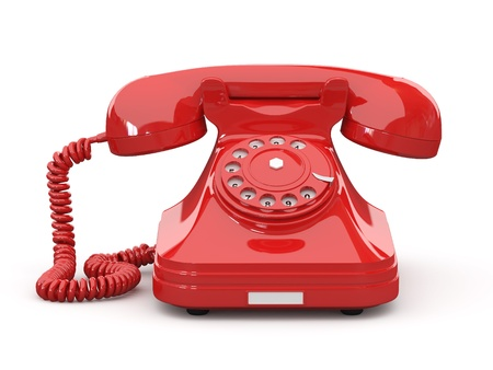 Old-fashioned phone on white isolated background. 3d photo
