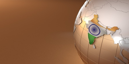 Map of the India on Earth in the national colors. 3d Stock Photo - 9883795