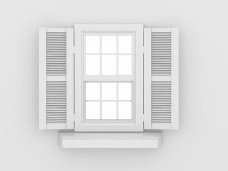 Closed window and shooters on grey isolated background. 3d  photo