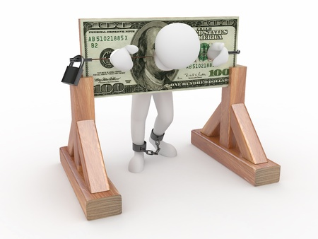Man being held hostage by money. 3d Stock Photo - 9883793