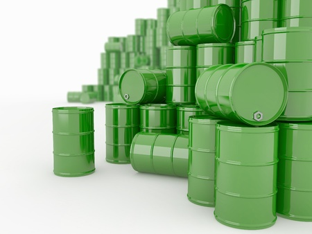 natural resources: Oil and Petroleum. Barrels on white isolated background.