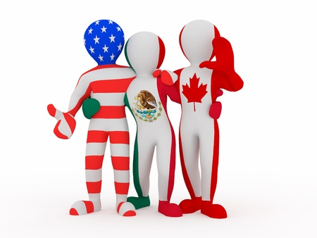 nafta: NAFTA. People in color of national flag of Canada, Mexico, USA. 3d Stock Photo