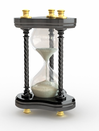 handglass: Hourglass. Handglass  on white isolated background. 3d